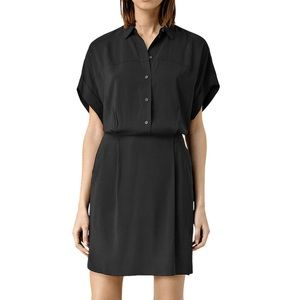 All Saints Mario Button Front Shirt Dress